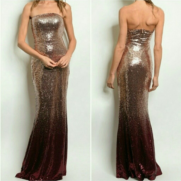 9aa90dd6a5c Burgundy Rose gold ombre sequin Mermaid gown